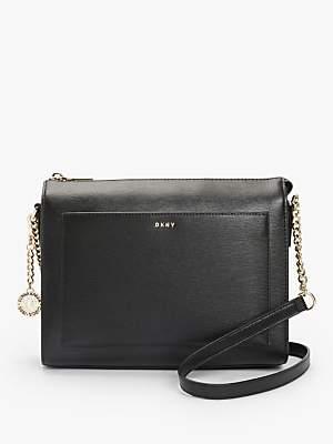 d94245acde7 DKNY Bryant Sutton Medium Leather Zip Top Cross Body Bag, Black/Gold