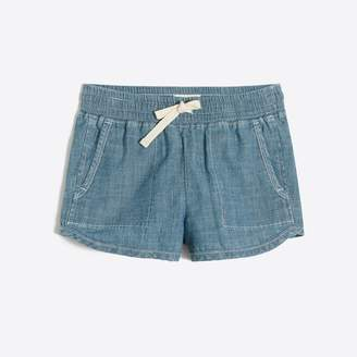 J.Crew Factory Girls' pull-on short in chambray