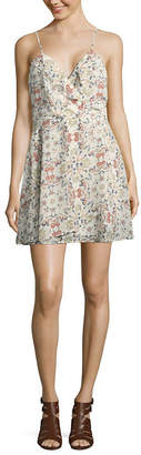 Speechless Sleeveless Floral Wrap Dress-Juniors