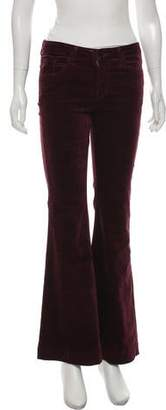 J Brand Velvet Mid-Rise Wide-Leg Pants