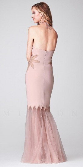 No Halter Cutout with Sheer Mermaid Skirt Evening Dress