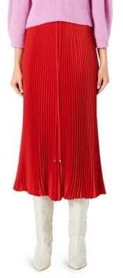 Tibi Mendini Plisse Pleated Midi Skirt
