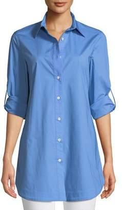 Misook Stretch-Cotton Shirt with Painter's Pockets, Plus Size