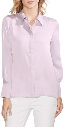 Vince Camuto Long Sleeve Satin Button-Down Top