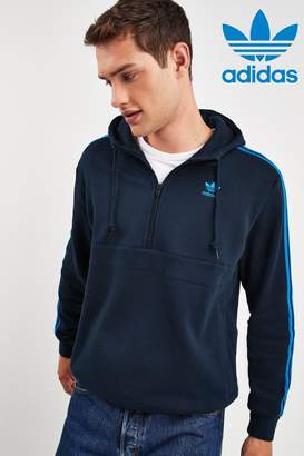 adidas Mens Navy 3 Stripe Zip Through Hoodie - Blue