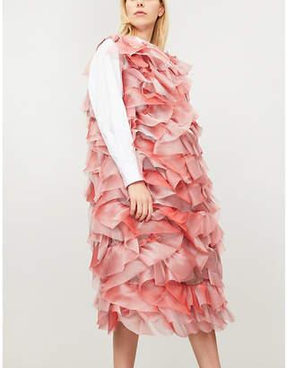 ROBERTS WOOD Ruched tie-shoulder silk-organza dress
