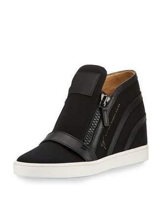 Giuseppe Zanotti Soma Hidden-Wedge High-Top Sneaker, Black $750 thestylecure.com