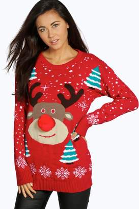 boohoo Niamh Pom Pom Reindeer Christmas Jumper