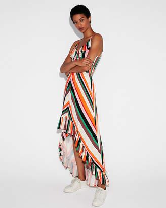Express Striped Smocked Waist Ruffle Maxi Dress