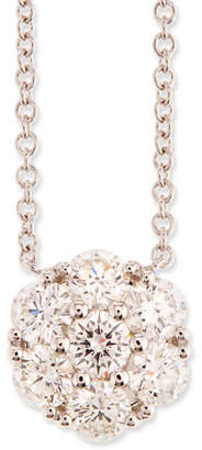 Memoire Diamond Flower Pendant Necklace in 18K White Gold, 0.97 tdcw