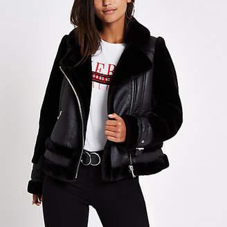 River Island Petite black faux fur aviator jacket