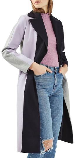 TopshopWomen's Topshop Colorblock Wool Blend Coat
