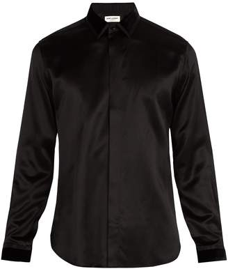 Saint Laurent Velvet point-collar silk shirt