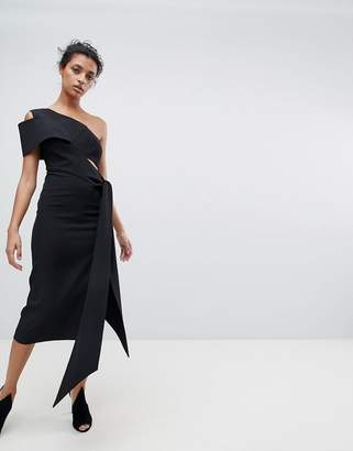 Aq/Aq Aq Aq One Shoulder Drape Front Midi Pencil Dress