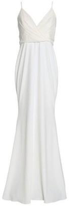 Badgley Mischka Wrap-Effect Crepe Gown