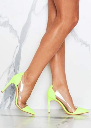 Missy Empire Missyempire Aurelia Neon Green Clear Detail Court Shoes