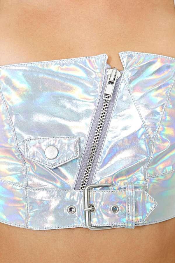 Nasty Gal Fiona Moto Bustier - Hologram