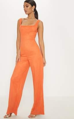 60e385fd875d PrettyLittleThing Orange Faux Suede Square Neck Wide Leg Jumpsuit