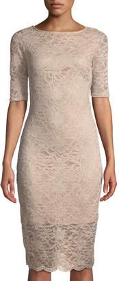 Neiman Marcus Ombre Foil Lace Sheath Dress