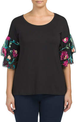 Plus Made In Usa Ruffle Embroidered Sleeve Tee
