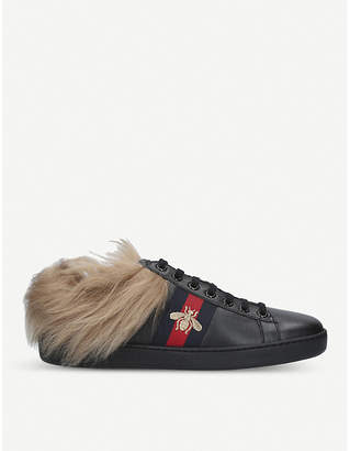 Gucci New Ace shearling-lined leather trainers