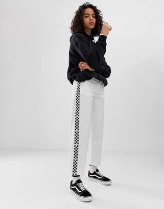 2b40e28605 Vans white wide leg checkerboard taping trousers