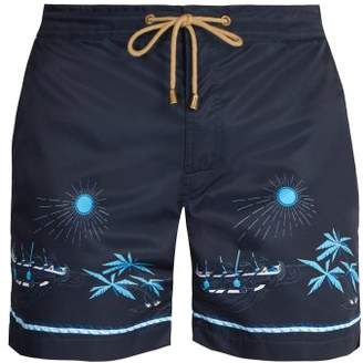 Thorsun - Titan Fit Volcano Print Swim Shorts - Mens - Navy