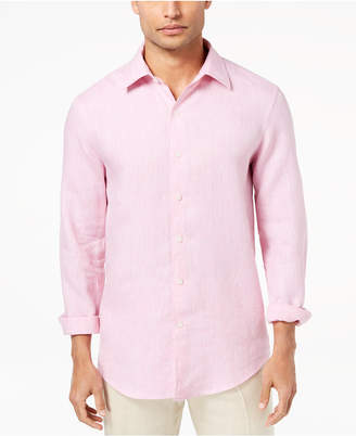 Tasso Elba Island Men's Cross-Dyed Linen Shirt, Created for Macy's