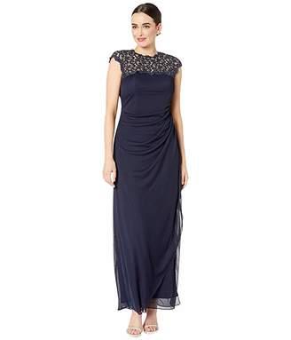 Alex Evenings Long Cap Sleeve Dress with Metallic Lace Neckline