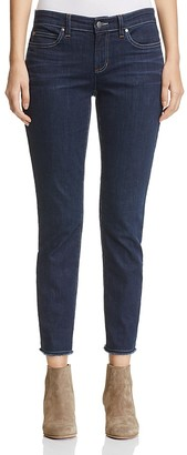 Eileen Fisher Frayed Hem Slim Ankle Jeans $178 thestylecure.com