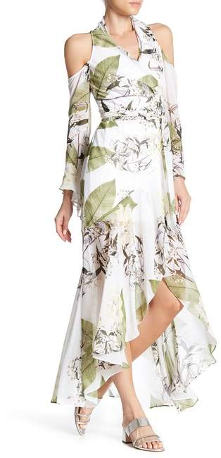 bebe Cold Shoulder Floral Pattern Maxi Dress