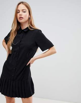 Asos Design DESIGN mini shirt dress with pleated hem
