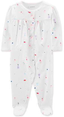 Carter's Carter Baby Girls 1-Pc. Princess-Print Cotton Footed Pajamas