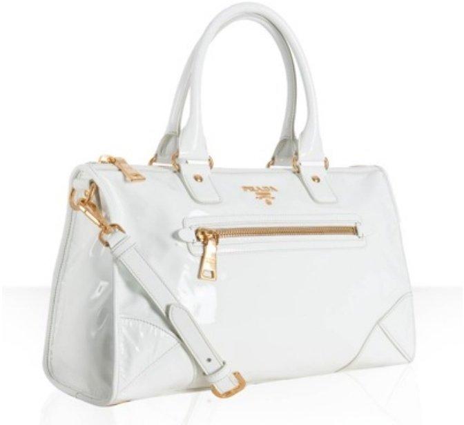 Prada white patent zip pocket medium satchel