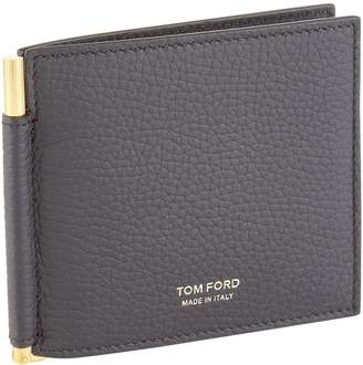 Tom Ford Grained Leather Money Clip Bifold Wallet