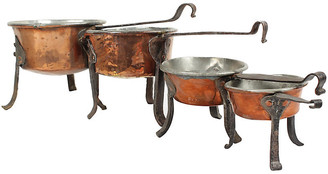 One Kings Lane Vintage Antique Swedish Copper Cooking Pots - Set of 4 - Blink Home Vintique