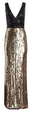 Jenny Packham Sequined& Beaded V-Neck Gown