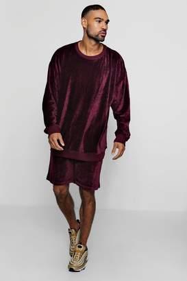 boohoo Oversized Velour Sweater Short Tracksuit
