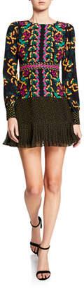 Saloni Vera Mixed-Print Flounce Midi Dress