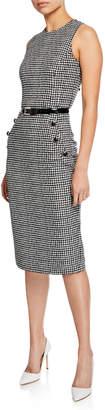 Michael Kors Houndstooth Belted Sleeveless Sheath Dress, Black/White