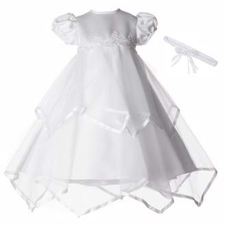 catan Christening Baptism Newborn Baby Girl Special Occasion Sheer Over Taffeta Two Tier Handkerchief Skirt Dress Gown Outfit With Satin Ribbon Trim