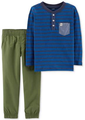 Carter's Baby Boys 2-Pc. Striped Cotton Henley & Pants Set
