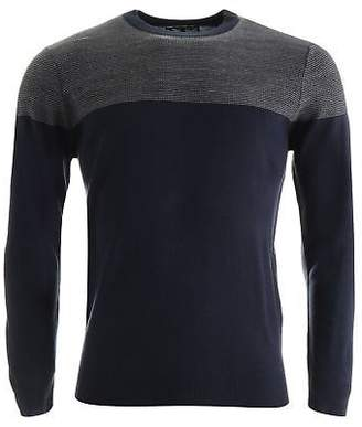 Lee Cooper Mens Panel Knit Crew Jumper Sweater Pullover Long Sleeve Neck