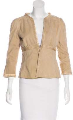 Valentino Suede Snakeskin-Trimmed Jacket