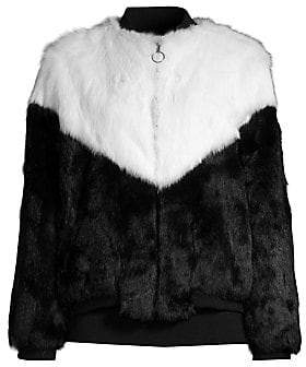 Adrienne Landau Women's Fur Varsity Jacket