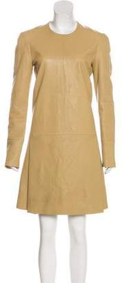 Calvin Klein Collection Leather Long Sleeve Dress