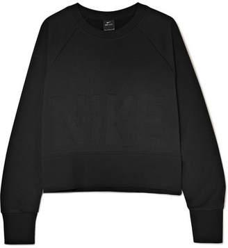 Nike Versa Cropped Embossed Jersey Sweatshirt - Black