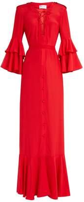 RAQUEL DINIZ Aria ruffled-sleeve silk gown
