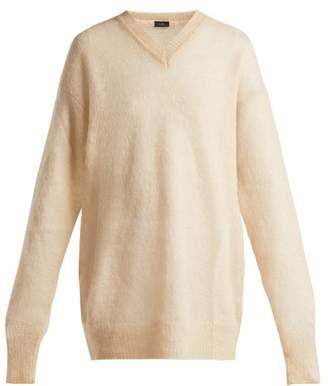 Joseph - V Neck Brushed Mohair Blend Sweater - Womens - Cream