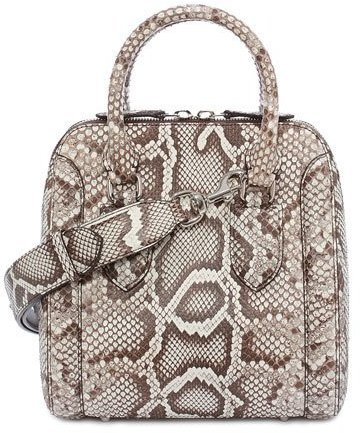 Alexander McQueenAlexander McQueen Heroine Small Python Satchel Bag, White